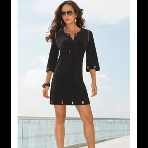 Boston Proper Black Dress with Grommets